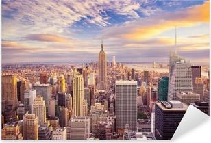 Sticker Pixerstick Coucher de soleil sur le centre de Manhattan