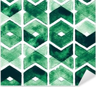 Sticker Pixerstick Couleurs d'aquarelle chevron vert sur fond blanc. modèle sans couture abstraite pour le tissu. prairie luxuriante