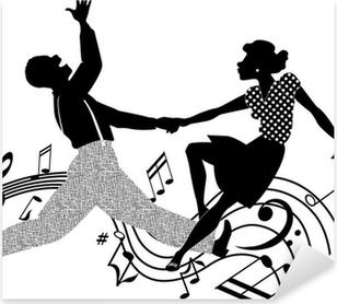 Sticker Pixerstick Couple dansant le rock and roll en noir et blanc