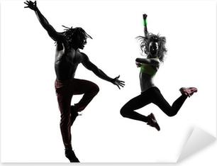Sticker Pixerstick Couple homme et femme dans l'exercice de fitness zumba danse silhouette