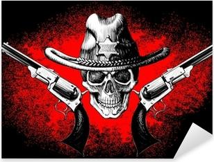 Sticker Pixerstick Crâne avec le revolver