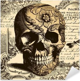 Sticker Pixerstick Crâne fond Vintage