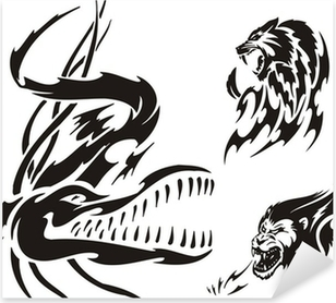 d1248578a694b Crocodile, lion and panther. Tribal predators. Sticker • Pixers® - We live  to change
