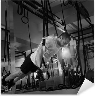 Crossfit fitness TRX push ups man workout Pixerstick Sticker