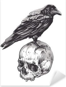 Crow on Skull Pixerstick Sticker