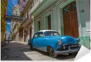 Sticker Pixerstick Cuba voiture bleue