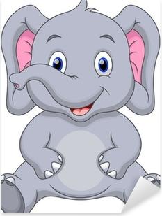Cute baby elephant cartoon Pixerstick Sticker