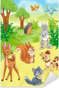 cute cartoon animals in forest Pixerstick Sticker