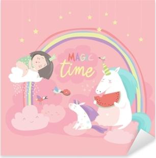 Cute cartoon girl with unicorns Pixerstick Sticker