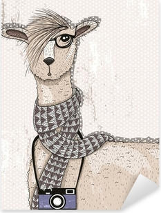 Cute hipster lama with photo camera, glasses and scarf Pixerstick Sticker