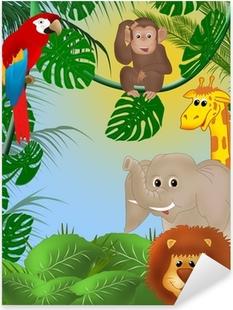 Cute jungle background Pixerstick Sticker