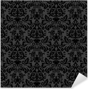 Sticker Pixerstick Damassé noire motif floral vintage