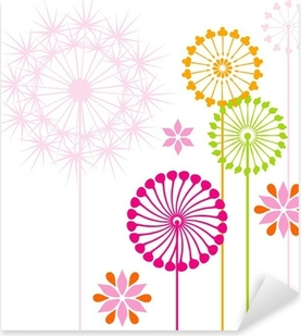 Dandelions colored Pixerstick Sticker