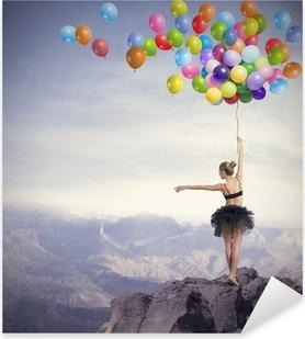 Pixerstick Sticker Danser met ballonnen