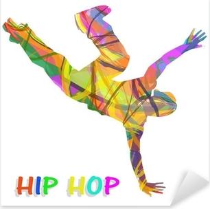 Sticker Pixerstick Danseur composée de couleurs qui dansent le hip-hop