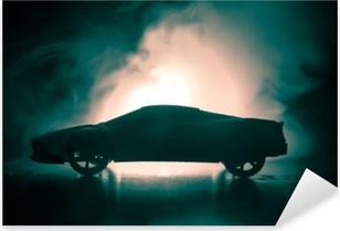 Pixerstick Sticker De auto in de schaduw met gloeiende lichten bij weinig licht, of silhouet van sportwagen donkere achtergrond