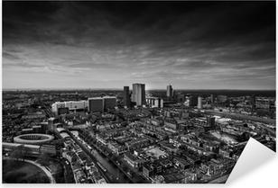 Pixerstick Sticker De skyline van Den Haag zwart en wit