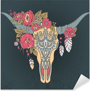 Decorative Indian bull skull with ethnic ornament Pixerstick Sticker