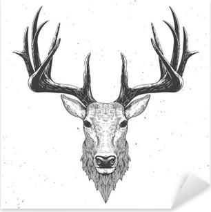 deer head on white Pixerstick Sticker