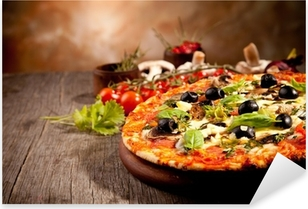 Delicious fresh pizza served on wooden table Pixerstick Sticker