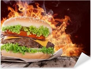 delicious hamburger on wood Pixerstick Sticker