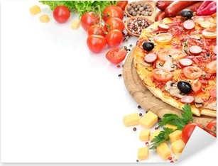 delicious pizza, vegetables and salami isolated on white. Pixerstick Sticker