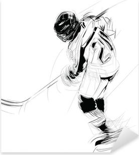 Sticker Pixerstick Dessin à l'encre illustration d'un joueur de la glace suçon