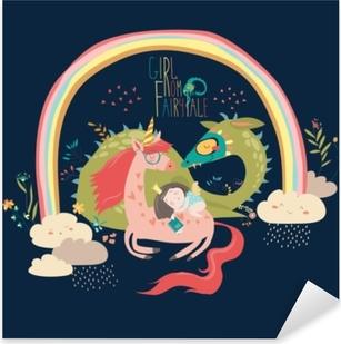 Sticker Pixerstick Dessin animé mignon dragon, licorne et petite princesse