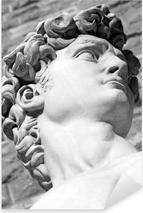 Pixerstick Sticker Detail van de beroemde Italiaanse beeldhouwkunst - David van Michelangelo, bl