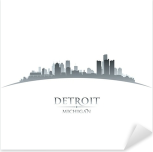 Detroit Michigan city skyline silhouette white background Pixerstick Sticker
