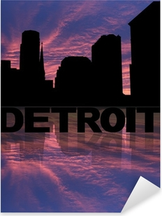 Detroit skyline reflected with text and sunset illustration Pixerstick Sticker