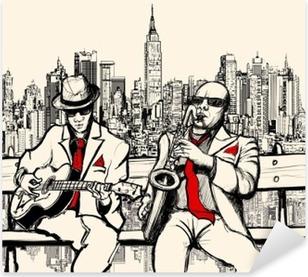 Sticker Pixerstick Deux hommes de jazz jouant à New York