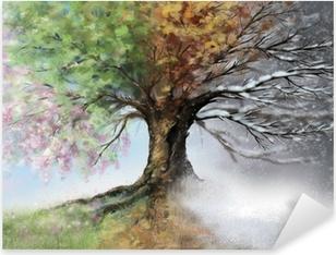 Digital illustration of four seasons tree Pixerstick Sticker