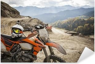 Pixerstick Sticker Dirty Enduromotor motorcross helm op de weg