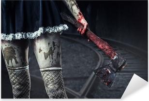 Dirty woman's hand holding a bloody axe Pixerstick Sticker