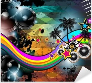 Pixerstick Sticker Disco club flyer sjabloon. Abstracte achtergrond te gebruiken voor muziek