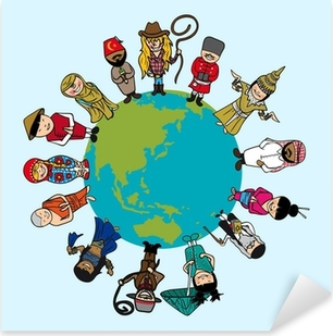 Diversity concept, people cartoons over planet earth with distin Pixerstick Sticker