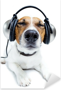 Dog listening music Pixerstick Sticker