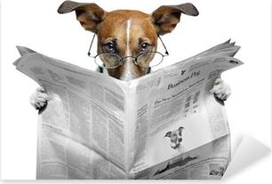 dog reading a newspaper Pixerstick Sticker