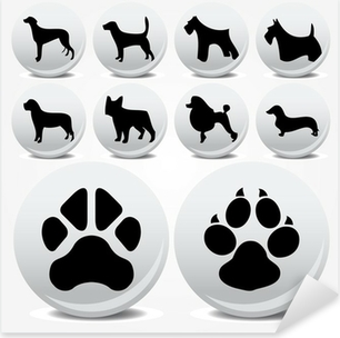 Dogs collection vector icons and footprints Pixerstick Sticker