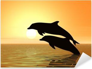 Pixerstick Sticker Dolfijnen en zonsondergang