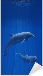 Dolphins Undersea - 3d render Pixerstick Sticker