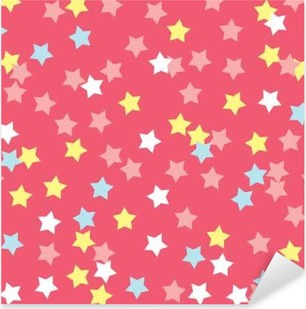 Donut glaze seamless pattern. Cream texture with sprinkle topping of colorful stars on pink background. Food bakery decoration. Vector eps8 illustration. Pixerstick Sticker