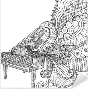 Doodles design of piano for coloring book for adult and design element - stock vector Pixerstick Sticker