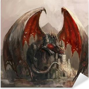 Sticker Pixerstick Dragon Castle