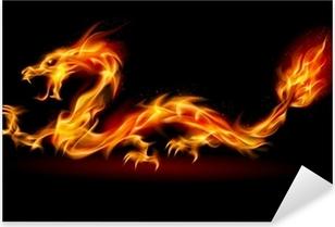 Sticker Pixerstick Dragon de feu