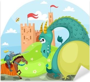 Sticker Pixerstick Dragon et chevalier
