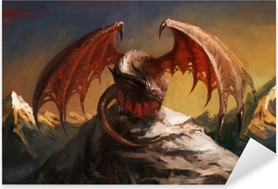 Dragon mountain Pixerstick Sticker