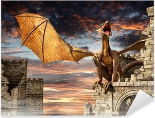 Sticker Pixerstick Dragon sur Château