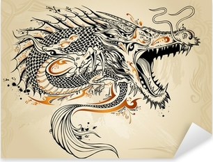 Sticker Pixerstick Dragon Tattoo Doodle Sketch Vector